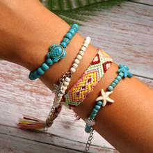 MOON GIRL, комплект из 4 предметов, летний очаровательный браслет ручной работы, уникальный дизайн, дружба, богемные плетеные браслеты, Femme, Пряма...(Китай)