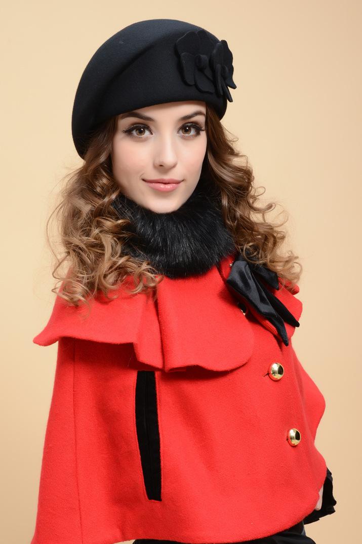 Wholesale Korean Winter Fashion Beret Hats Uk Womens 100% Wool ... 1f5c8845311