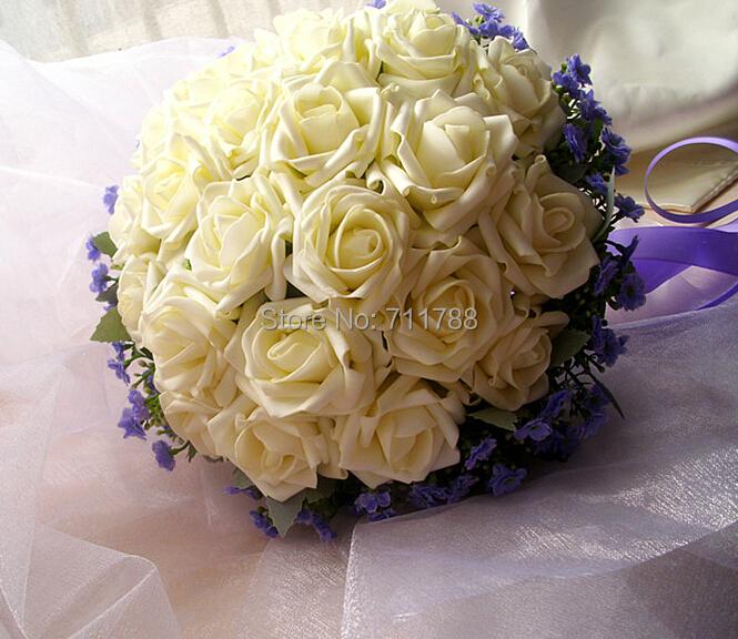 Korean Wedding Flowers: Handmade-Beautiful-Korean-big-white-roses-bridal-bouquet