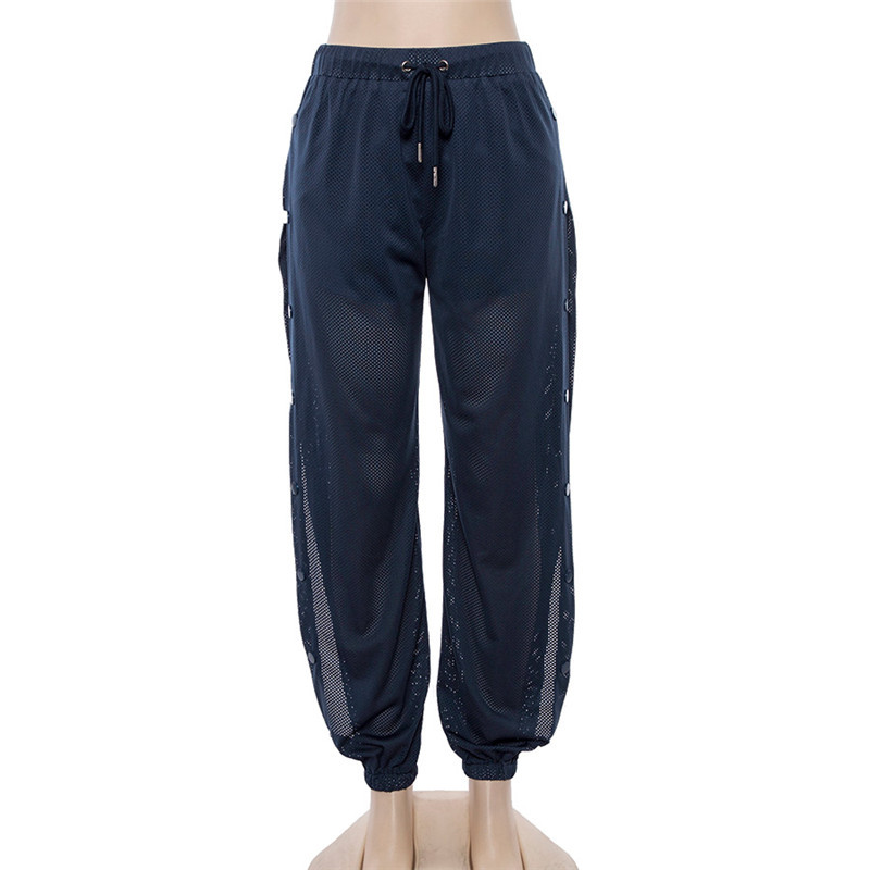 Женские спортивные брюки на кнопках, сетчатые прозрачные брюки для бега, с открытым боком, с высоким разрезом, женские спортивные штаны для ...(Китай)