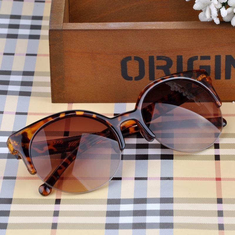 e1012aa55dc Unisex Vintage Semi-Rimless Half Frame Sunglasses Inspired Round ...