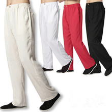 White Linen Pants Men Long Trousers Plus Size Chinese Kung Fu Pants Martial Arts Trousers Black Linen Casual Sport Pants