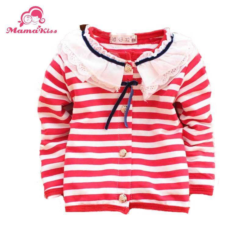 Осень дети одежда для 24 месяц девочки-младенцы полоска хлопок длинная рукавами тис кардиган A093