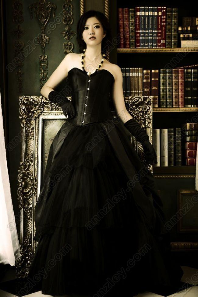 Vintage Corset Top Black Gothic Wedding Dresses For Women ...