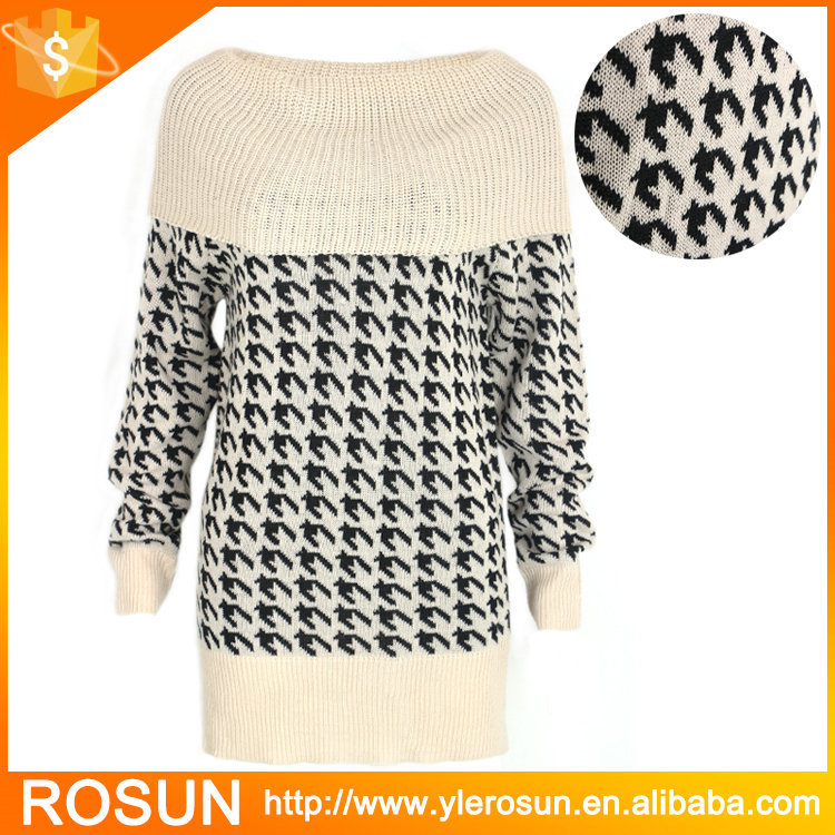 Classical Pattern Women Off Shoulder Boat Neck Sweater ...