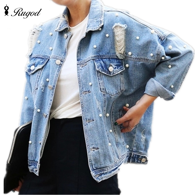 56e8df9870a Wholesale- Pearls Beading Ripped Denim Jacket Women Single Breasted ...
