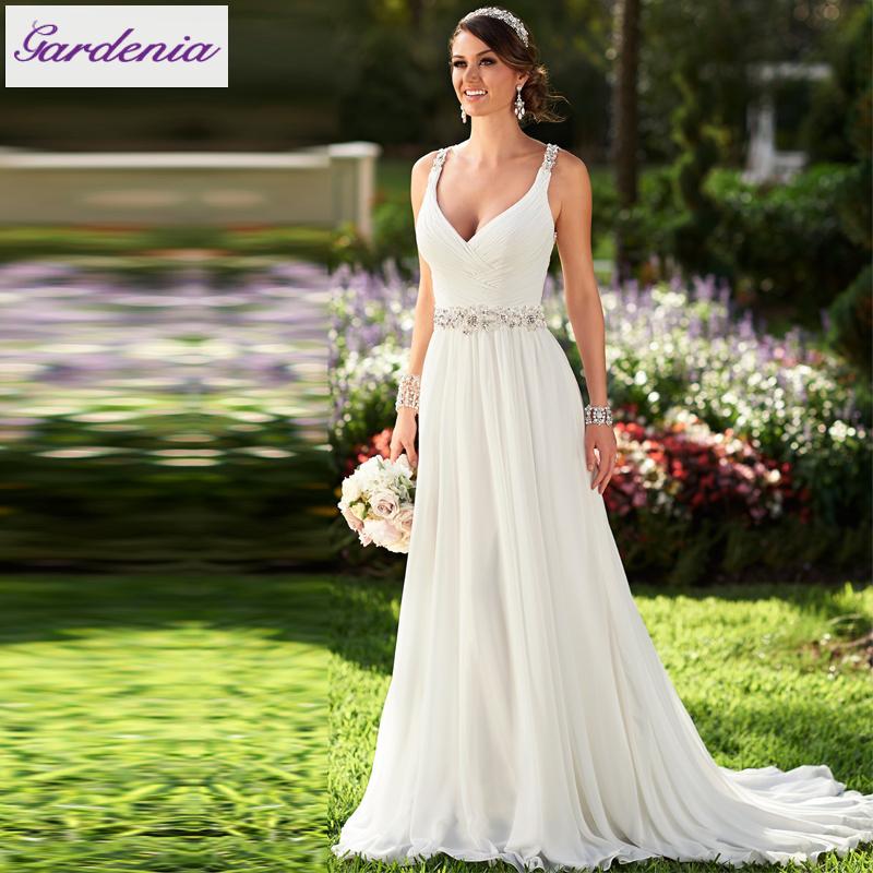 Vestidos De Novia Sexy Flowing Chiffon Beach Wedding Dress