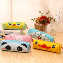 Creative Kawaii Bear Panda PU Pencil Case Cute Cartoon Doraemon Pencil Box For Kids Korean Stationery Free Shipping 1208