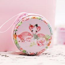 1 шт. красочные фламинго жестяная коробка Гавайские вечерние украшения коробка конфет девушки подарки стол органайзер рисунок Фламинго кру...(Китай)