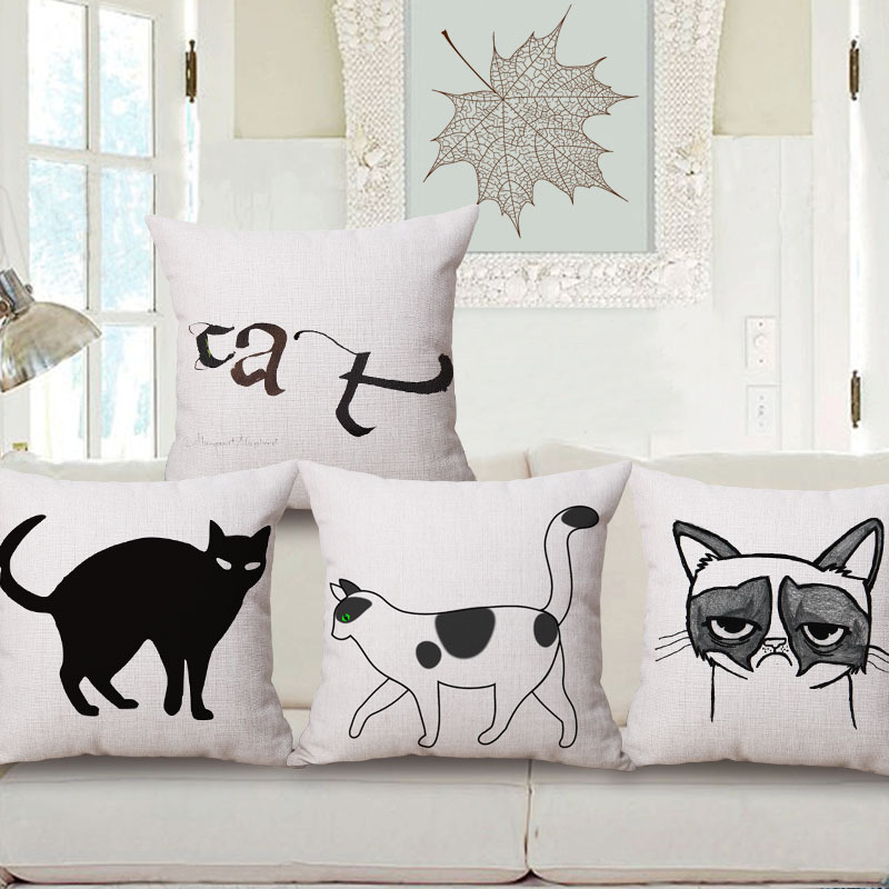 45cm 200g Simple Handwriting Cat Thick Fashion Cotton Linen Throw Pillow Hot Sale 18 Inch New Home Decor Sofa Back Cushion MQQ