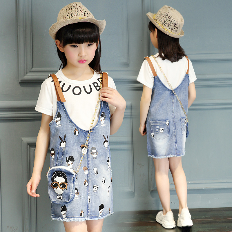 Summer Dress 2016 Kids Clothes Girls Girls Jean Dress Two Piece Dress T-shirt And Jean Suspender Shipping Free