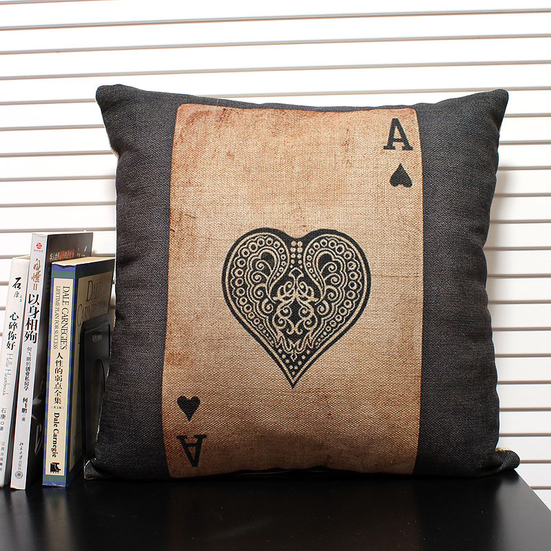 wholesale personality poker pillow cover a cushions linen pillow case office pillows home. Black Bedroom Furniture Sets. Home Design Ideas