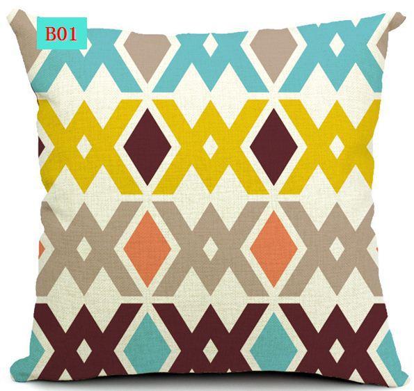 Bohemian stripe cushion cover decorative throw pillows for sofa pillowcases home decor cotton linen vintage wave geometry 5pcs