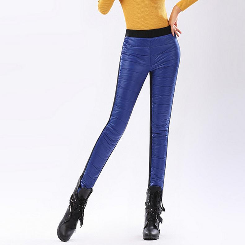 2016 формальные брюки брюки зима высокой талией верхней одежды женщин Ladoes мода тонкий теплый ветрозащитный толстый пуховик брюки брюки