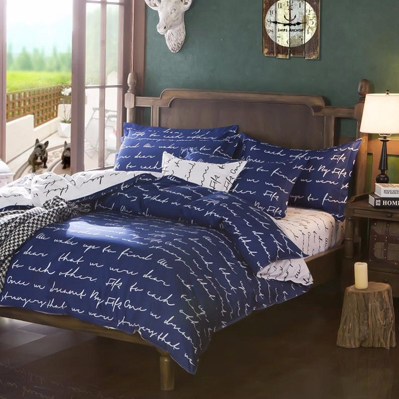 Whole Home Textile Duvet Cover Blue Love Letter Printed Cotton Bedding Set Single Double King Quilt Bed Sheet Pillowcase Covers