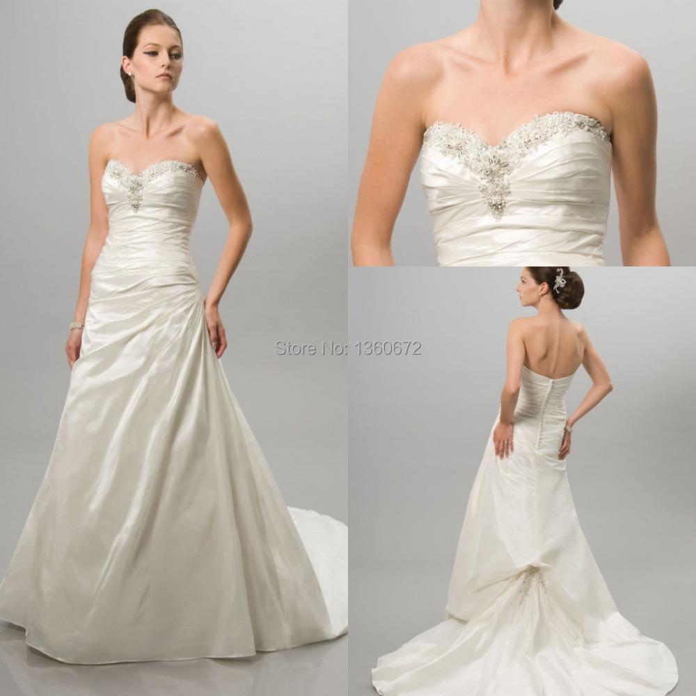 Simple And Elegant White Satin Sweetheart With Jacket: 2014 Simple Elegant A Line Wedding Dresses Ivory