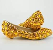 BaoYaFang Золото Кристалл женская свадебная обувь невесты клинья дамы большой размеры 44 вечерние туфли под платье женская обувь(Китай)