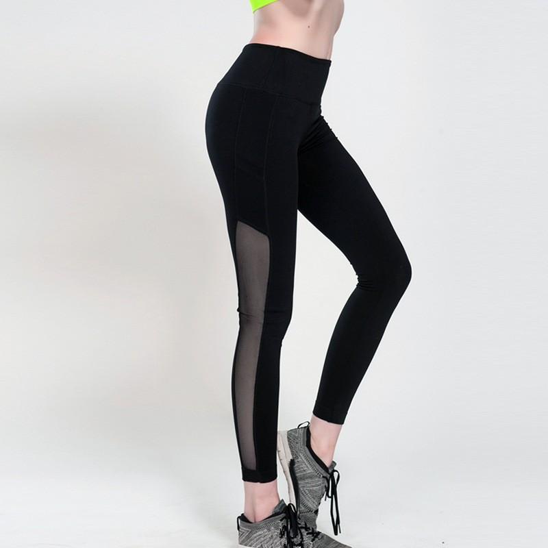 2019 Wholesale Side Pocket Women Yoga Pants Net Yarn