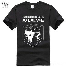 The Big Bang Theory Schrodinger's Cat T-shirts Men Swag Funny Cotton Short Sleeve Tshirts 2016 New Fashion Summer Style T shirt