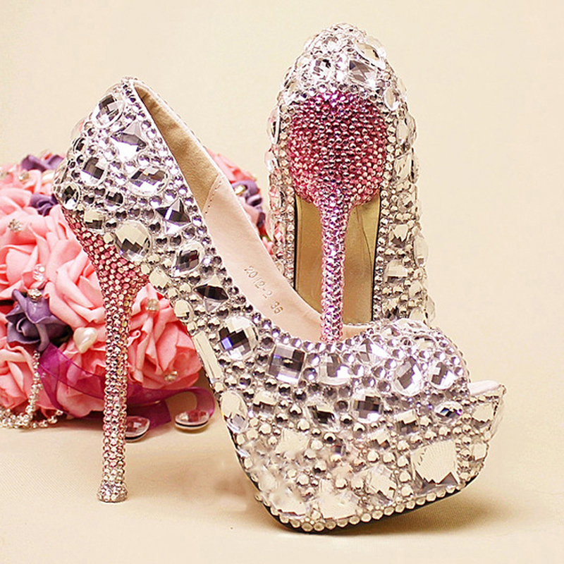 Free Shipping Wedding Bridal Dress Shoes Silver And Green