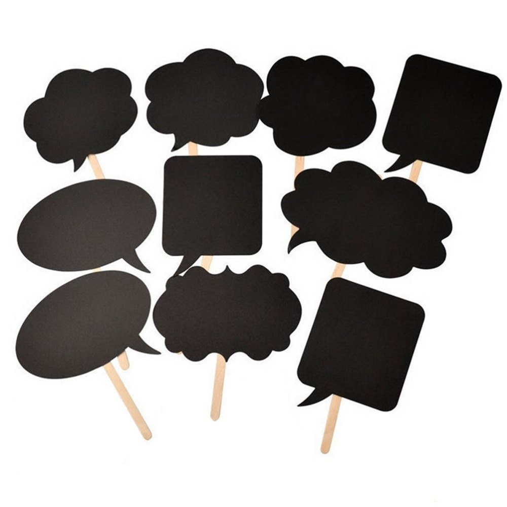 10 pcs photo booth prop diy bubble speech chalk board wedding decoration party supplies on. Black Bedroom Furniture Sets. Home Design Ideas