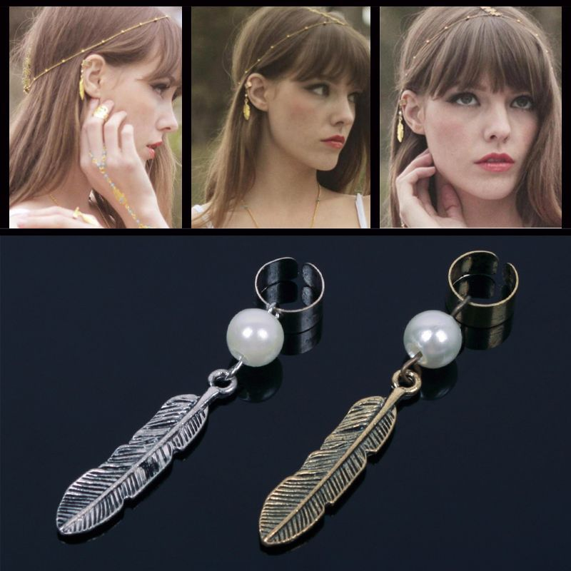 10pcs Gothic Punk Leaf Feather Pearl Dangle Earrings For Women Clip On Non Pierced Ear