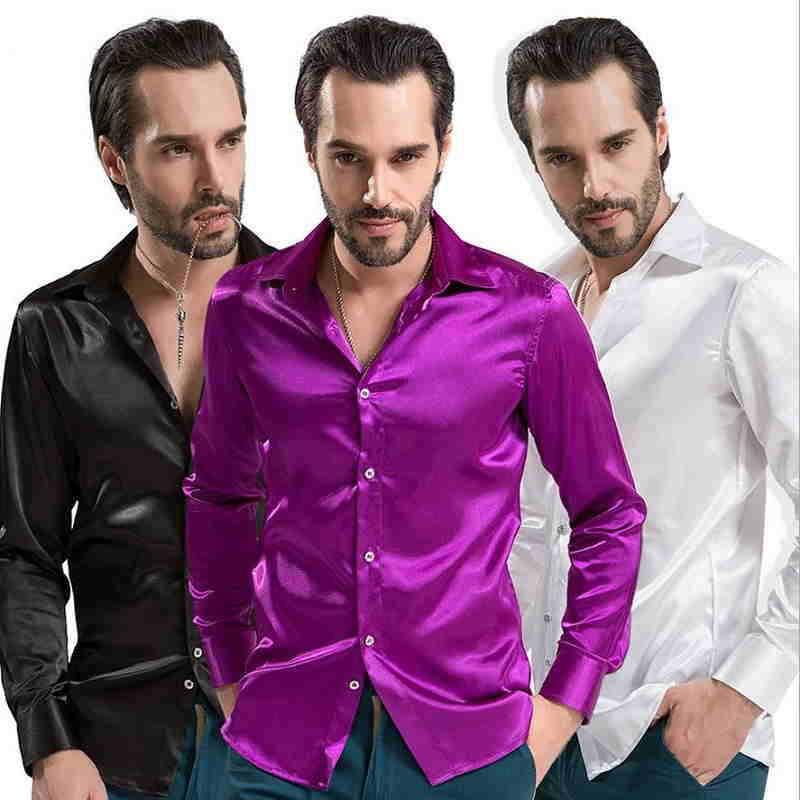 achetez en gros chemise de soie hommes en ligne des. Black Bedroom Furniture Sets. Home Design Ideas