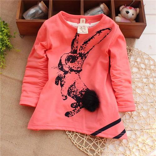 Девочки младенцы весна осень прекрасный кролик t - рубашки животное милый тис девочки-младенцы футболки KT309R