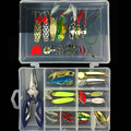 41pcs box Lure Fishing Tool Tackle Box Fishing Pliers Fishhooks VIB Spoon Lures with Feather Fishing