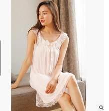 Женская ночная рубашка без рукавов, пикантная Пижама, хлопковое Ночное платье, белая ночная рубашка принцессы, пижама большого размера, E1234, ...(Китай)