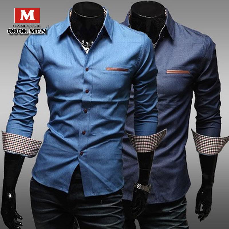 Деним рубашки camisa masculina свободного покроя мужчины рубашка vestidos лето camisa джинсы шотландка рубашки приталенный синий бутик социальной рубашка