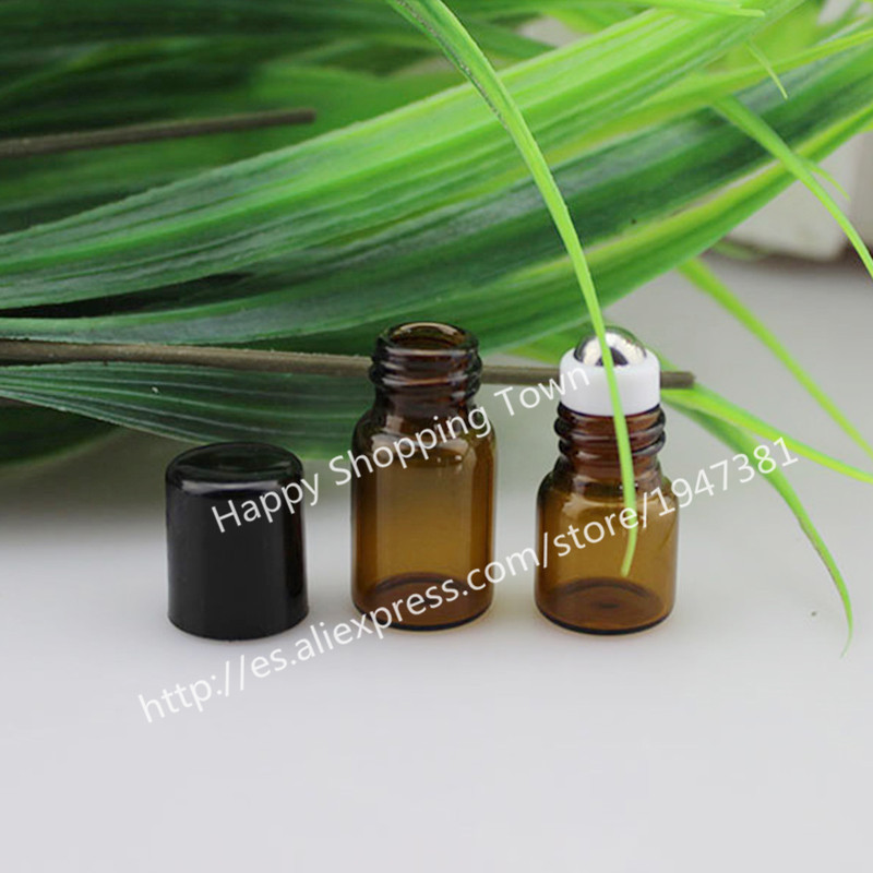 24pcs 1ml amber roll on roller bottles for essential oils