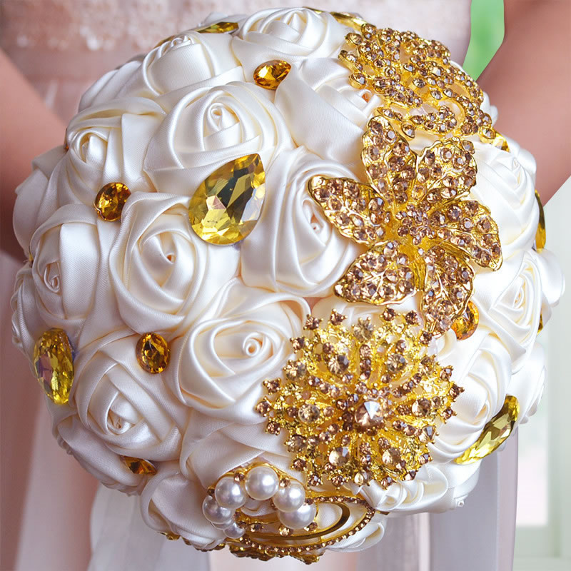Wholesale Gorgeous Gold Brooches Wedding Bouquet Silk