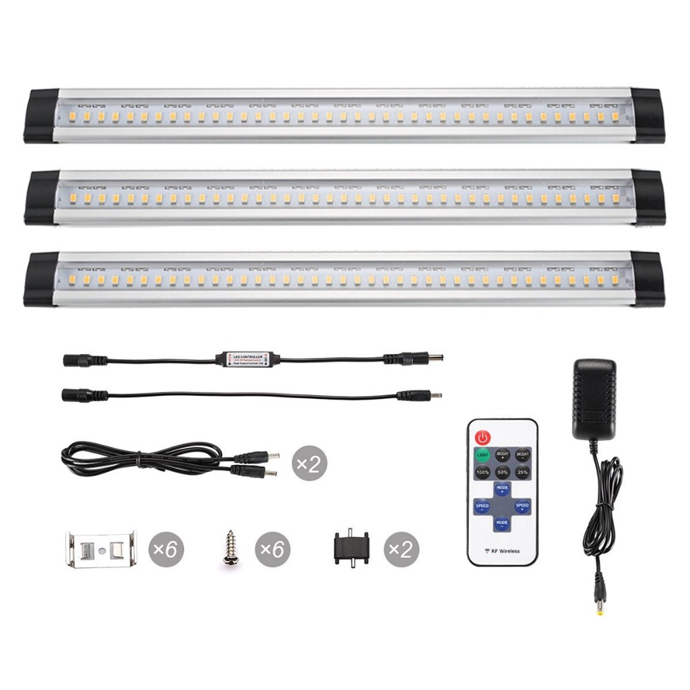 3pc Dimmable Led Under Cabinet Lighting Kit Extendable