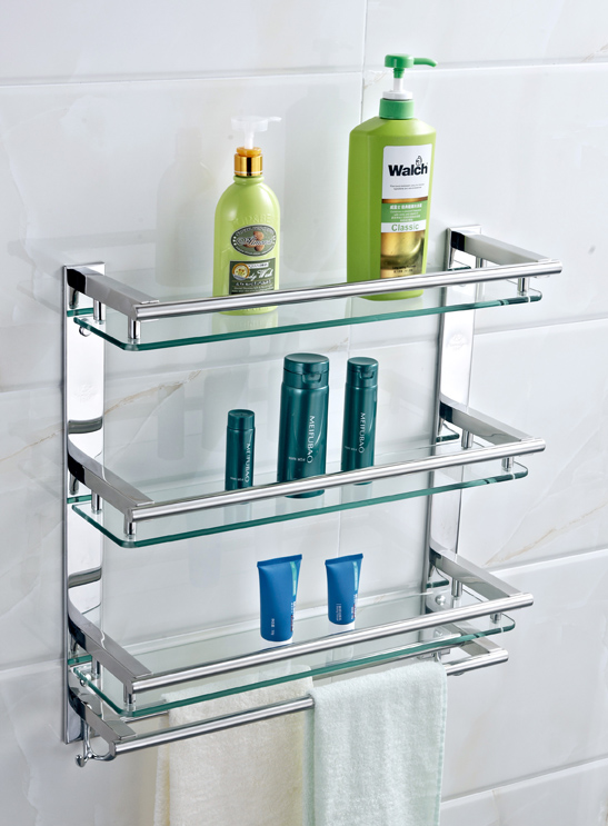 Bathroom shelf 304 stainless steel glass storage rack - Bathroom shelves stainless steel ...