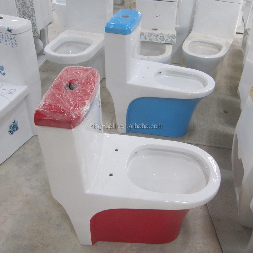 Ceramics One Piece Blue Colored Toilet Ceramic Sanitary