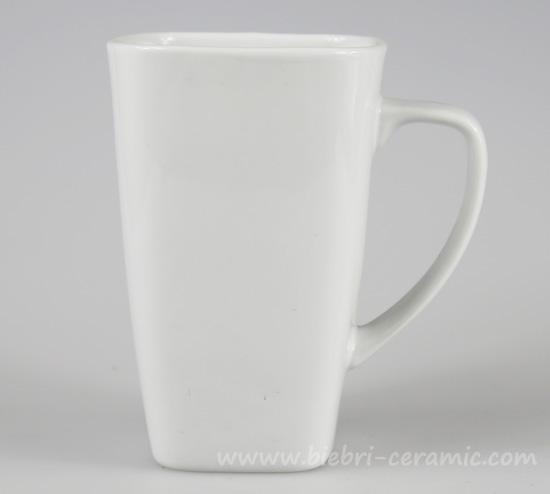 350ml unique square shape ceramic porcelain plain white tall coffee