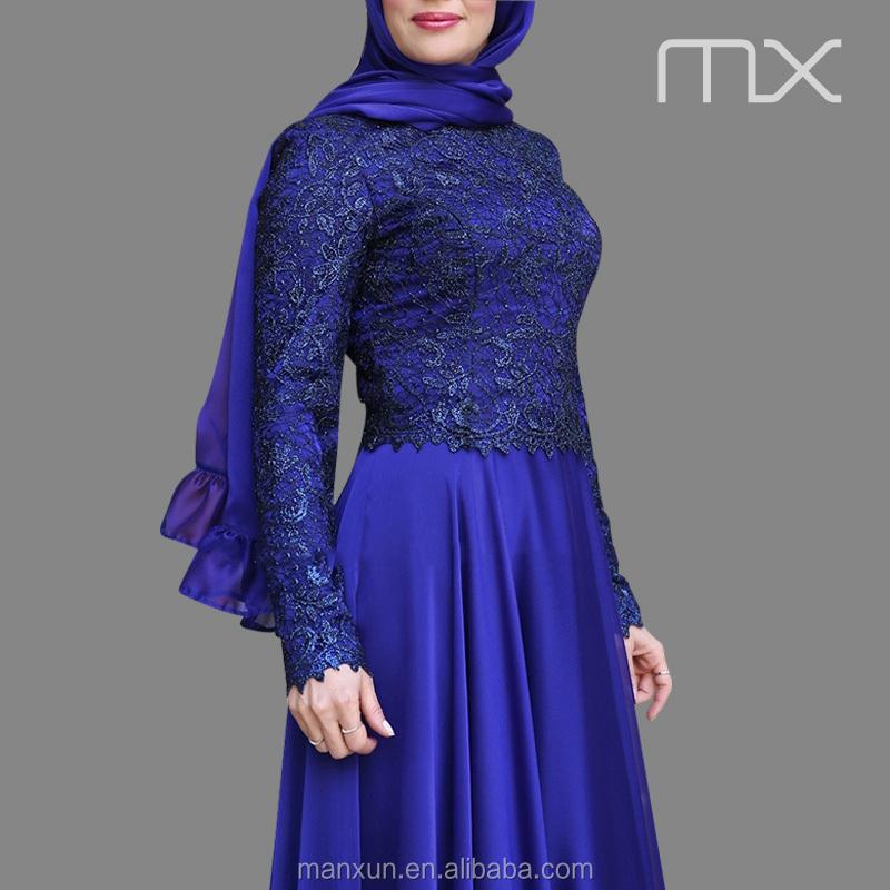 Royal Blue Colour Dress New Fashion Chiffon Maxi Dresses With Lace