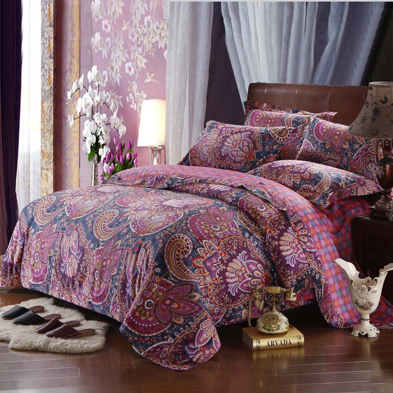 hot sale long staple cotton bedding set boho bed cover set with europe red bedclothes for queen. Black Bedroom Furniture Sets. Home Design Ideas