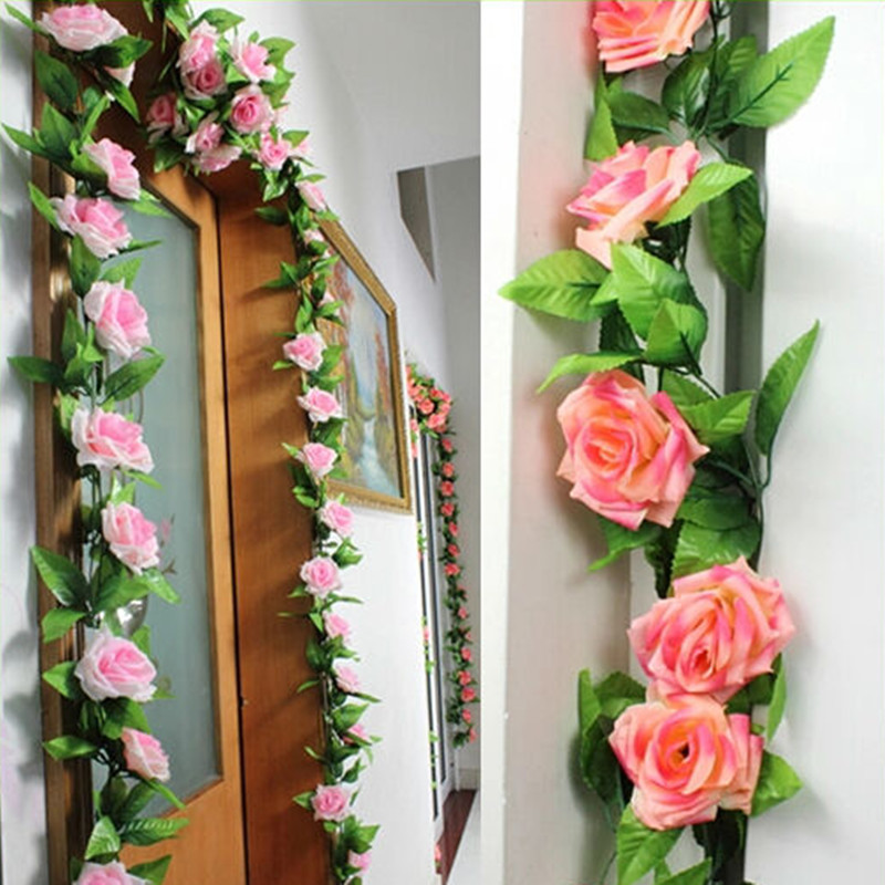 Home Decoration Flowers: Artificial Rose Vines Flowers Garland