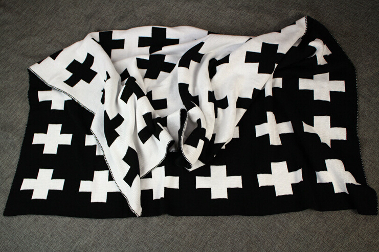 Blanket & Swaddling Mother & Kids Provided Baby Blanket Black White Cute Rabbit Swan Cross Knitted Plaid For Bed Sofa Cobertores Mantas Bedspread Bath Towels Play Mat Gift Customers First