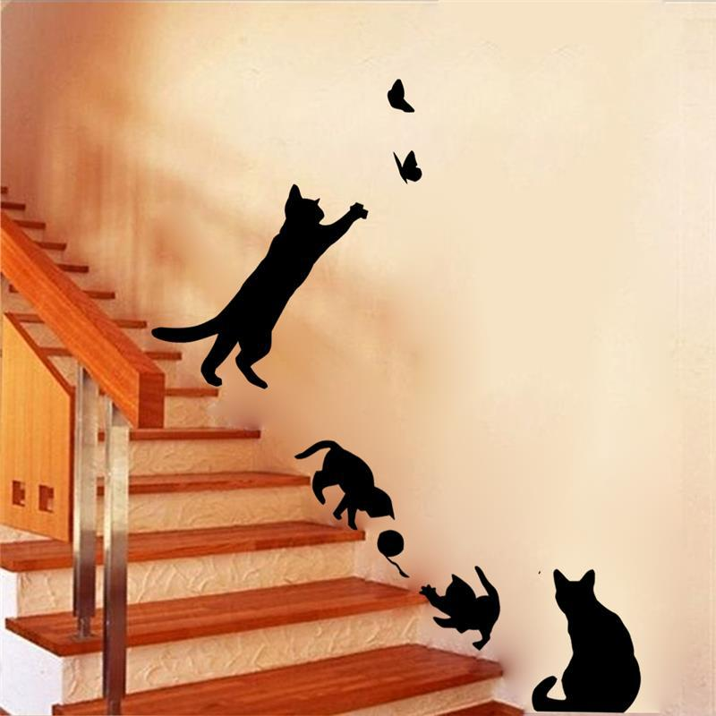 4 Cute cats children play room decorative wall stickers DIY tattoos  Art posters wall vinyl adhesives animals home decor