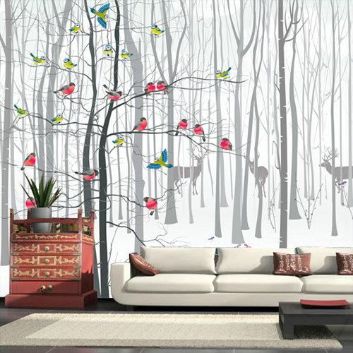 3d photo murale papier peint peintures murales pour salon moderne oiseau arbre noir blanc grande. Black Bedroom Furniture Sets. Home Design Ideas