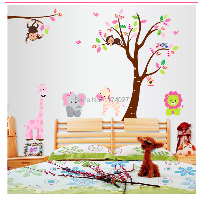 Free shipping momkey elephant zebra tree wall sticker Animal Friends home decor Removable Kids Room Decoration