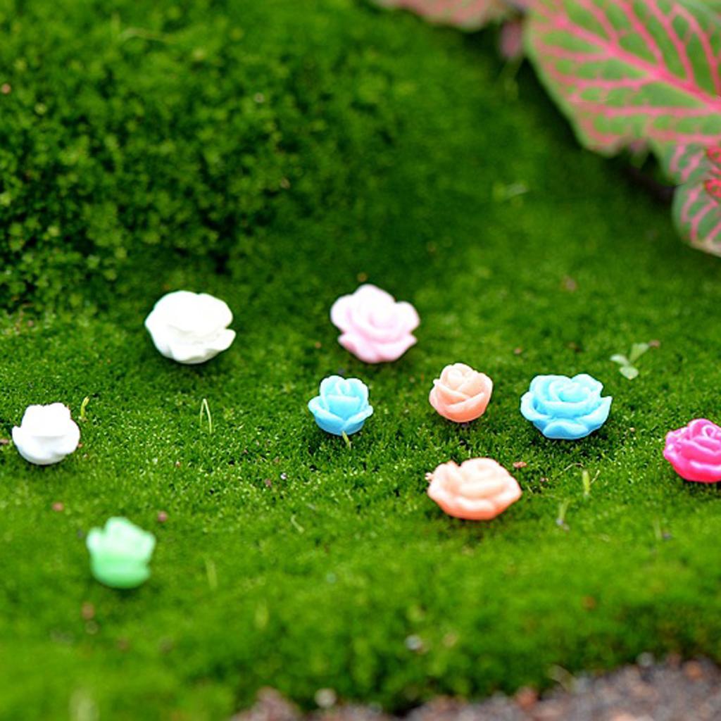 20Pcs Mini Resin Flowers Miniature Plant Pots  Bonsai Craft Micro Landscape DIY Home Garden Decor Wedding Party Decoration