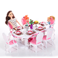 Miniature Furniture Luxury White Dining Table for 8 Person and for Barbie Doll House Pretend Play