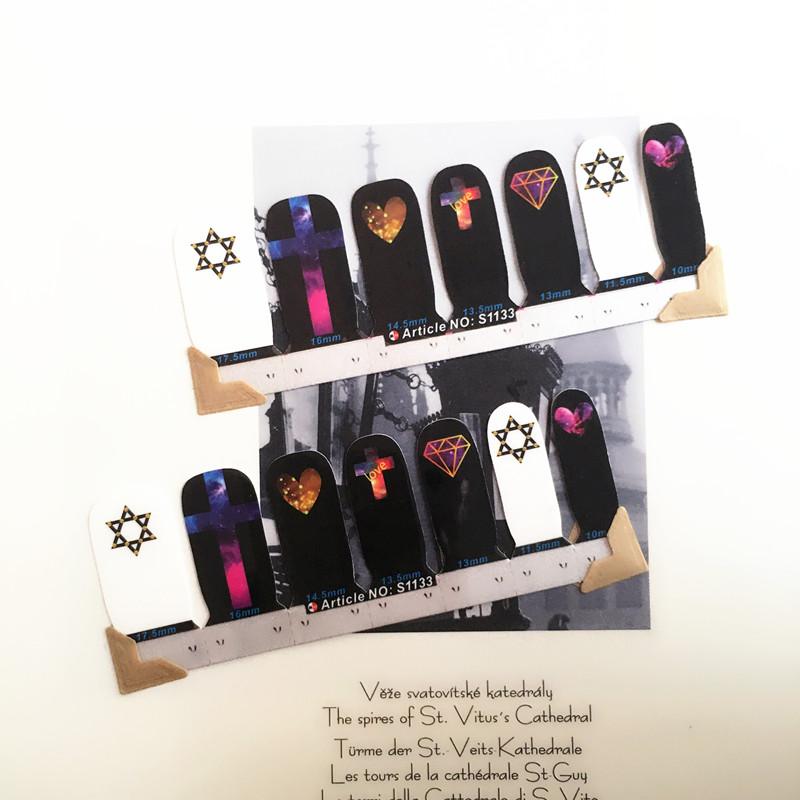 Sexy Black Heart Nail Arts Sticker 14 pcs set Waterproof Nail Decal Art Sticker Gel Polish