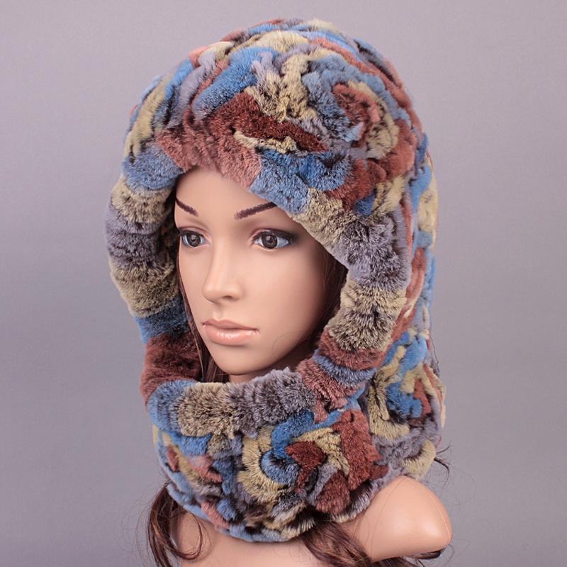 Plush Ladies Real Fur Caps Russian Fur Caprex Rabbit Fur font b Winter b font Warm