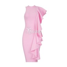 VC 2020 горячее шикарное элегантное с одной стороны оборками украшенное сексуальное платье миди без рукавов знаменитости Бандажное платье(Китай)