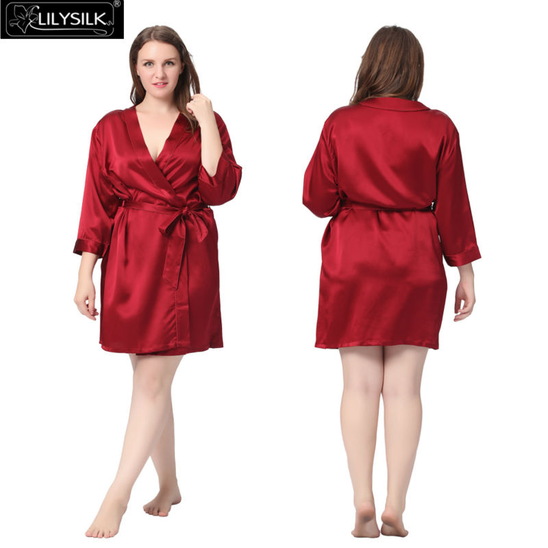 2019 Wholesale Lilysilk 100% Pure Silk Robe Women Plus Size 22 Momme ... ad0ea2db3